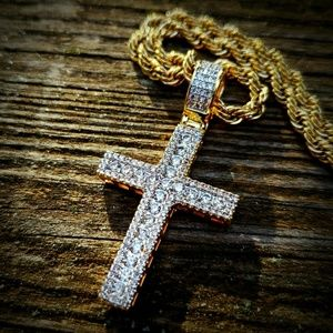 14k GP Flooded Simulated Diamond Cross Necklace